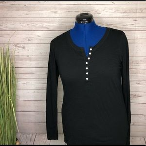 Mossimo Supply Co black longsleeve too w buttons L